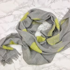 Gray Lightweight Scarf with Yellow Polka Dots